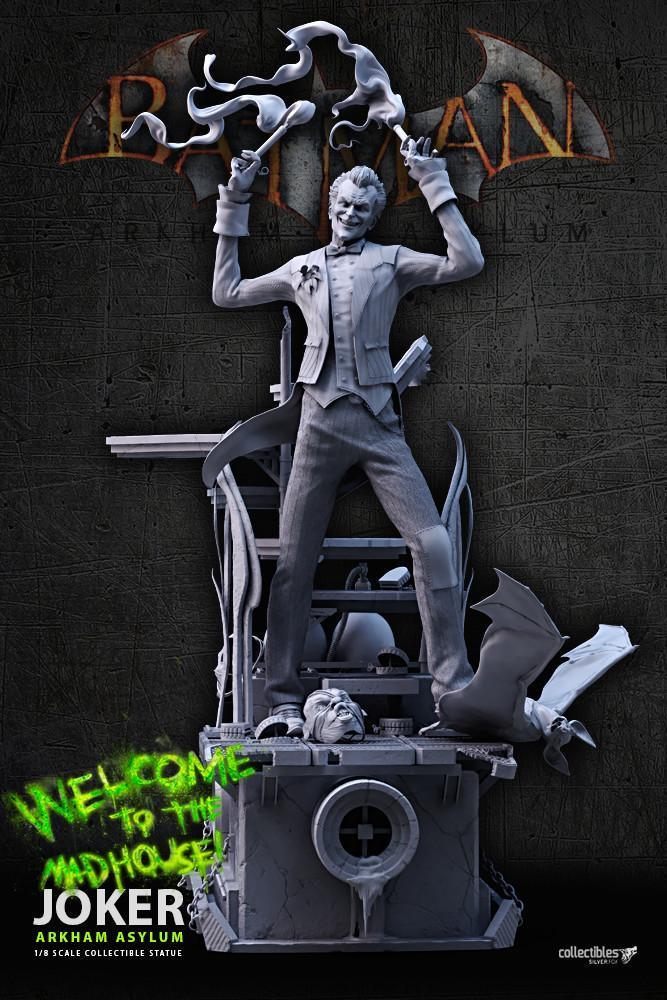 Batman siver fox collectibles joker arkham asylum 1 8 scale statue2