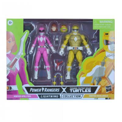 Power Rangers Tortue Ninja (TMNT) - Lightning Collection -Morphed Michelangelo & Morphed April O'Neil 15cm